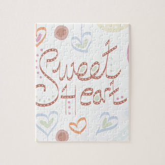 Sweet Heart. Pastel colourful text and print. Jigsaw Puzzle