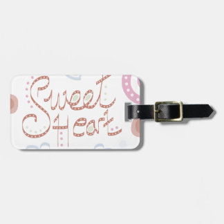 Sweet Heart. Pastel colourful text and print. Luggage Tag