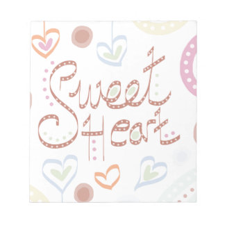 Sweet Heart. Pastel colourful text and print. Notepad