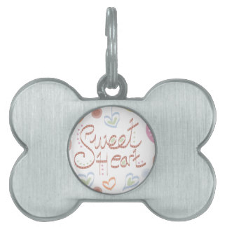 Sweet Heart. Pastel colourful text and print. Pet Tag