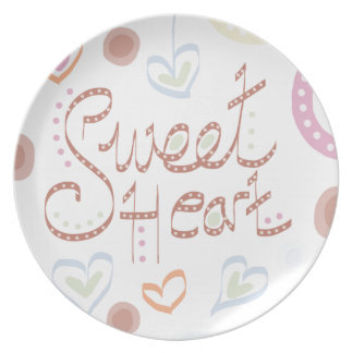 Sweet Heart. Pastel colourful text and print. Plate