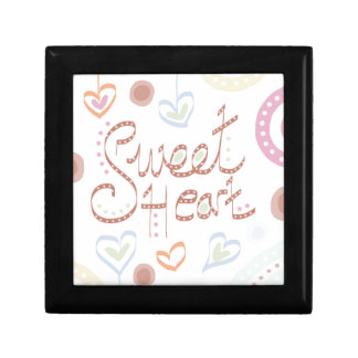 Sweet Heart. Pastel colourful text and print. Small Square Gift Box