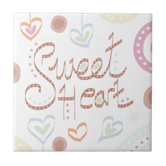 Sweet Heart. Pastel colourful text and print. Tile