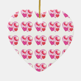 Sweet Heart Patterns  : Pink Theme Double-Sided Heart Ceramic Christmas Ornament