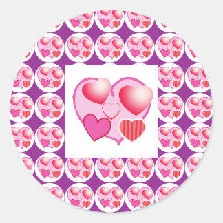Sweet Heart Patterns  : Pink Theme Round Sticker