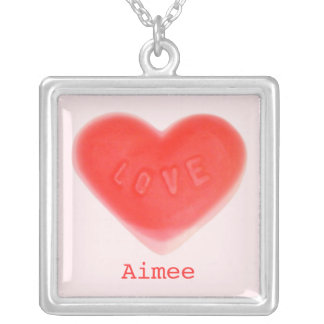 Sweet Heart Pink 'Name' necklace square
