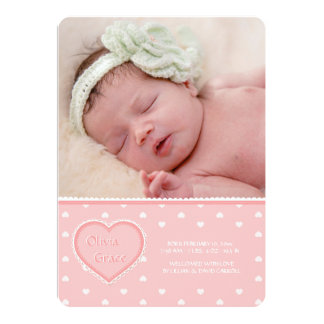 Sweet Heart Pink Photo Birth Announcement
