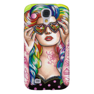Sweet Heart Tattooed Rainbow Hair Pin Up Galaxy S4 Case
