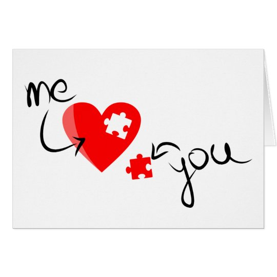 Sweet Heart With Puzzle Piece Valentine's Day Card