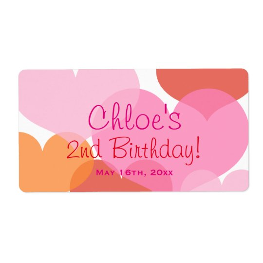 Sweet Hearts Birthday Water Bottle Labels