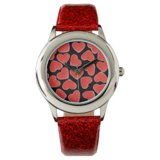 Sweet Hearts Black print watch