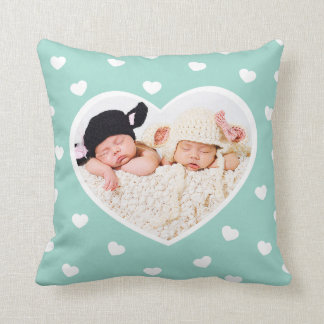 Sweet Hearts Custom Photo Pillow / Mint