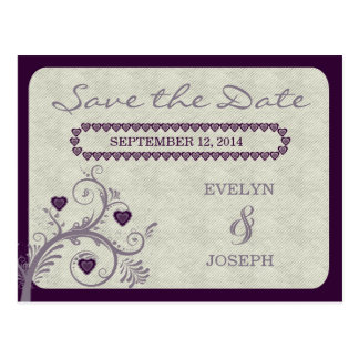 Sweet Hearts Eggplant Save the Date ID169 Postcard