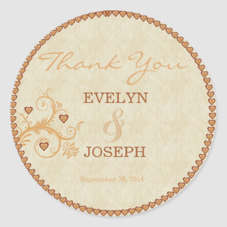 Sweet Hearts Gold Wedding Thank You ID169 Round Sticker