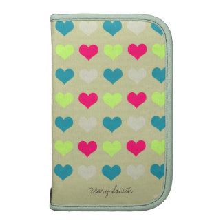 Sweet Hearts Pattern Custom Name Beige Folio Planners