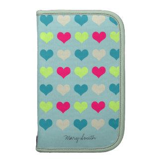 Sweet Hearts Pattern Custom Name Blue Organizers