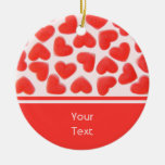 Sweet Hearts Pink 'text' 2 sides Round Ceramic Decoration