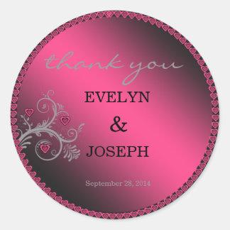 Sweet Hearts Pink Wedding Thank You Round Sticker