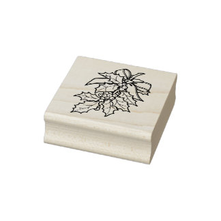 Sweet Holly Christmas Rubber Stamp