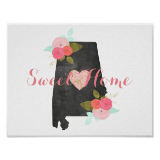 Sweet Home Alabama State Watercolor Floral & Heart Poster