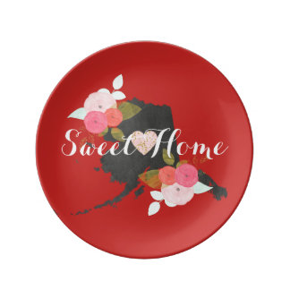 Sweet Home Alaska State Watercolor Floral & Heart Plate