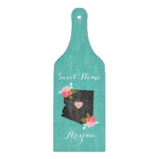 Sweet Home Arizona State Floral & Moveable Heart Cutting Board
