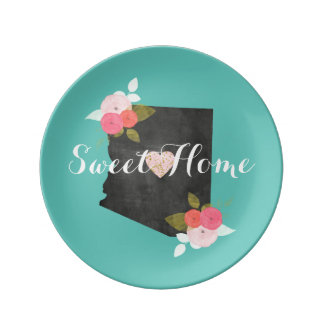 Sweet Home Arizona State Floral & Moveable Heart Plate