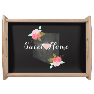 Sweet Home Arizona State Floral & Moveable Heart Serving Tray