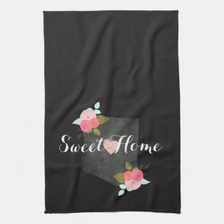 Sweet Home Arizona State Floral & Moveable Heart Tea Towel