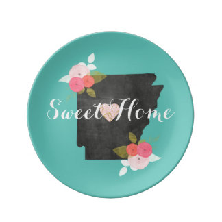 Sweet Home Arkansas State Floral & Moveable Heart Plate