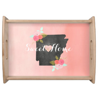 Sweet Home Arkansas State Floral & Moveable Heart Serving Tray
