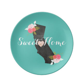 Sweet Home California State & Moveable Heart Plate
