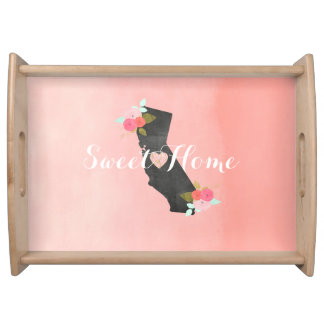 Sweet Home California State & Moveable Heart Serving Tray