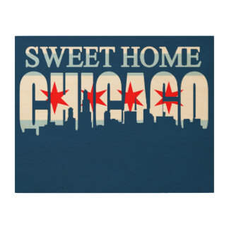 Sweet Home Chicago Flag Skyline Wood Print