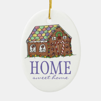 Sweet Home Housewarming Gift Gingerbread House Ceramic Oval Decoration