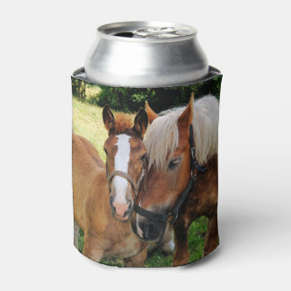 Sweet Horses Nuzzling Can Cooler