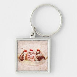 Sweet - Ice Cream - Banana split Silver-Colored Square Key Ring