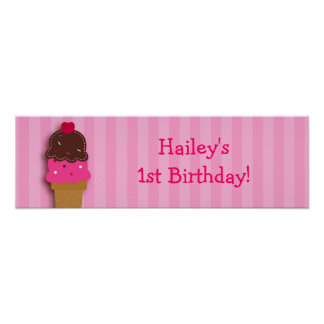 Sweet Ice Cream Shop Birthday Banner Sign