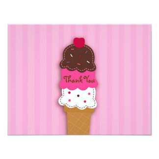 Sweet Ice Cream Shop Thank You Note Cards 11 Cm X 14 Cm Invitation Card