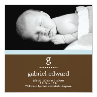 """Sweet Initial Baby Boy Birth Announcement 5.25"""" Square Invitation Card"""