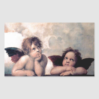 Sweet Italian Angels Renaissance Masterpiece Rectangular Sticker