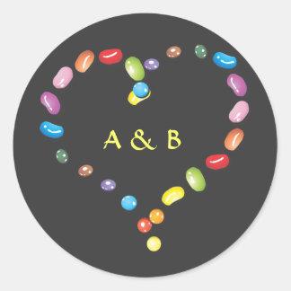 Sweet jelly beans candy heart shape. Add initials Round Sticker