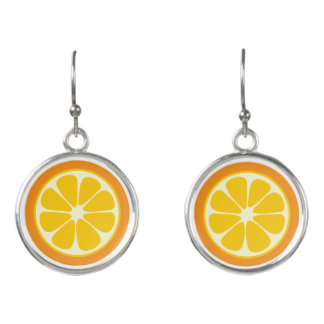 Sweet Juicy Orange Tropical Citrus Fruit Slice Earrings