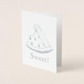 Sweet! Juicy Watermelon Melon Slice Fruit Foil Card