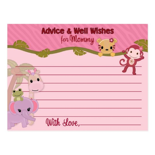 Sweet Jungle Babies Advice for Mummy Cards PINK