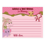 Sweet Jungle Babies Advice for Mummy Cards PINK Postcard
