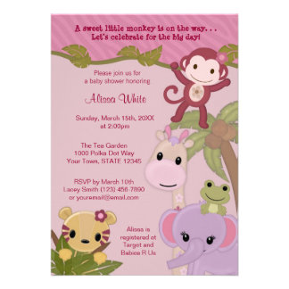 Sweet Jungle Babies Baby Shower Invitation safari
