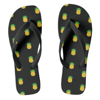 Sweet kawaii pineapple black flip-flop sandals