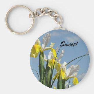 Sweet! keychain Iris Flowers Blue Sky Spring