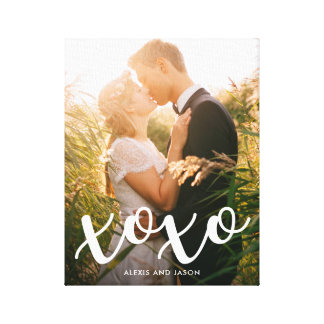 Sweet Kisses   xoxo in White with your Photo Canvas Print